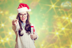Picture of beautiful young lady in Santa Claus hat Stock Photography
