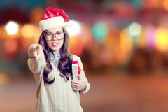 Picture of beautiful young lady in Santa Claus hat Stock Image