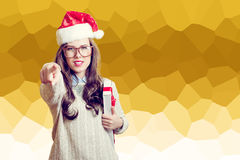 Picture of beautiful young lady in Santa Claus hat Royalty Free Stock Photos