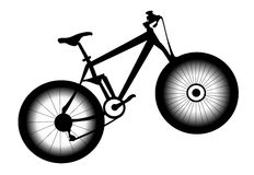 Picture of bicycle. In black and white stock illustration