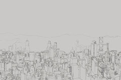 Picture of big city from a height, panorama takes Royalty Free Stock Image
