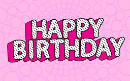 Happy birthday banner text with hot pink shadow themed party LOL doll surprise.