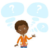 The picture of black boy and bubbles for text with question mark inside. Color picture black brooding boy in the orange jacket and striped t-shirt and light Royalty Free Stock Photography