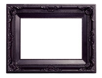 Picture black frame with a decorative pattern. Isolated on white background stock images