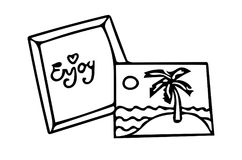 The picture with black line contours frame with enjoy text and w. Ith palm tree. For coloring book and other design Stock Images