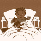 The picture of the black little girl with a sore throat wrapped in a scarf, lying in bed. Royalty Free Stock Photo