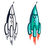 Picture blue rocket. Space Rocket blue cartoon flying Stock Photo