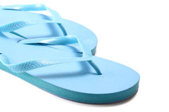 Picture of blue summer flip flops over white Royalty Free Stock Photo