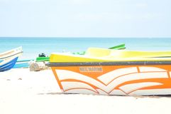 Picture of boat on beach stock photos