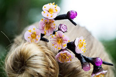 A picture of bobby pin on head of blonde girl Royalty Free Stock Photography