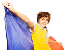 Picture of boy holding French flag behind Royalty Free Stock Photography