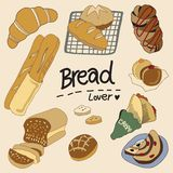 The picture of bread and Toast. The photo Illustration of bread and toast by hand-drawn technique royalty free illustration