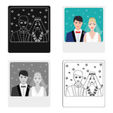 A picture of the bride and groom sees on the wall.Wedding single icon in cartoon style vector symbol stock illustration. Royalty Free Stock Photo