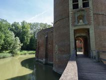 Castle entrance. A picture of the bridge and the entrance of the castle of Beersel Stock Photo