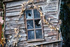 Picture of broken windows in abandoned building royalty free stock images