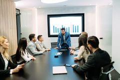 Picture of business meeting in conference room. Picture of business meeting in modern conference room stock images