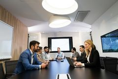 Picture of business meeting in conference room. Picture of business meeting in modern conference room stock photo