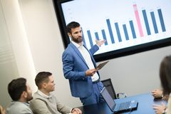 Picture of business meeting in conference room. Picture of business meeting in modern conference room royalty free stock photo