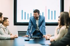Picture of business meeting in conference room. Picture of business meeting in modern conference room royalty free stock images