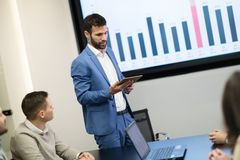 Picture of business meeting in conference room. Picture of business meeting in modern conference room stock image