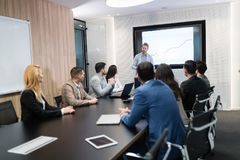 Picture of business meeting in conference room. Picture of business meeting seminar in conference room stock photo