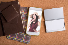Picture of business woman in smart phone and blank name card and. Picture of business woman in smart phone and blank white name card and luxury holiday Stock Images