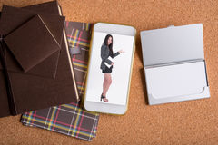 Picture of business woman in smart phone and blank name card and. Picture of business woman in smart phone and blank white name card and luxury holiday Stock Image