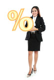 Picture of businesswoman holding sign of percent Royalty Free Stock Images