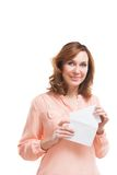 Picture of businesswoman with parcel over white Royalty Free Stock Photos