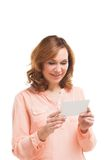 Picture of businesswoman with parcel over white Royalty Free Stock Photography