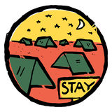 Picture of camping, dusk. Nature and resting. Picture of camping , dusk. Nature and resting. Emblem, label. Stay sign text. Tents all around. Moon, stars royalty free illustration