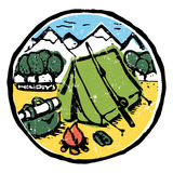 Picture of  camping in the woods. Nature and resting. Emblem, label. Tent with fire, travling car, bag in the woods. Mountains on background. Colored Stock Photo