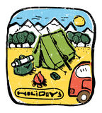 Picture of  camping in the woods. Nature and resting. Emblem, label. Tent with fire, travling car, bag in the woods. Mountains on background. Colored Stock Images