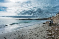 Excellent cloudy day in the coast stock images
