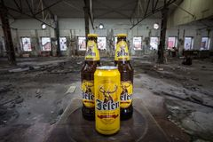 Can and bottle of Jelen Pivo Beer in an abandoned factory. Jelen pivo is a light beer. Picture of Cans and Bottles of Jelen Pivo. Jelen pivo is a light pale royalty free stock photo