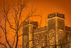 Winter Time Castle in the Snow. This is a picture of a castle that could be the home of Dracula on Halloween or could also be a home of a brave night or even a royalty free stock photography