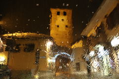 Picture of a castle in Pinerolo in rainy day. Turin, Piedmont, Italy Stock Photography
