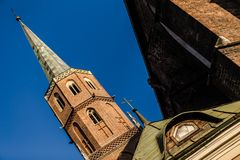 Picture of cathedral taken in unusual angle. With blue sky behind Stock Images