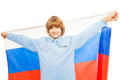 Picture of Caucasian boy waving Russian flag Stock Images