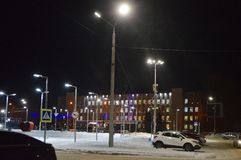 The picture Central square of Kandalaksha in December. Kandalaksha on the Polar Night stock photos