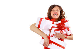 Picture of cheerful santa helper Stock Photos