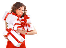 Picture of cheerful santa helper Royalty Free Stock Images