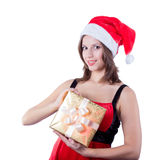 Picture of cheerful santa helper girl with gift Stock Image