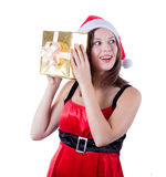 Picture of cheerful santa helper girl with gift Stock Images