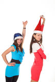 Picture of cheerful santa helper girls Stock Image