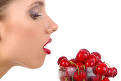 Picture of cherry and lips Stock Photo