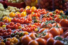 Cherry tomatoes of different sizes dans colors, red yellow and green, for sale on a canadian market of montreal, displayed in pla. Picture of cherry tomatoes royalty free stock images