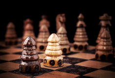 Picture of a chess, one against all concept Royalty Free Stock Images