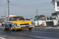 Chevrolet camaro drag car. Picture of Chevrolet camaro drag car at the starting line on the track during the john scotti all out 17-19 june 2016 Royalty Free Stock Photos
