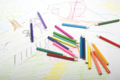 Picture by child. Color pencils and child's picture. Two light sources Stock Image